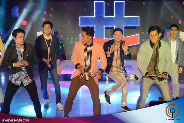 PHOTOS: Nagguguwapuhang members ng Hashtags, tinilian sa It's Showtime opening prod